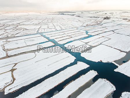 aerial view of marshland covered with