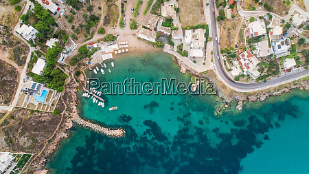 aerial view of small harbour of