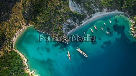 aerial view of boats moored in