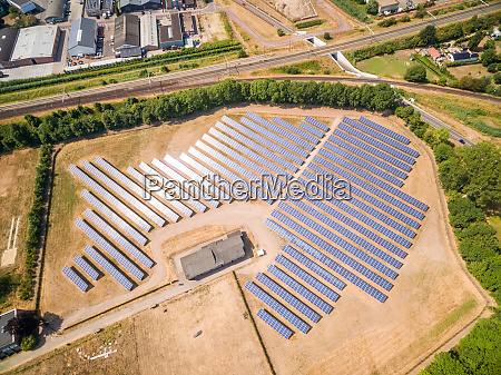 aerial view of photovoltaic panels during