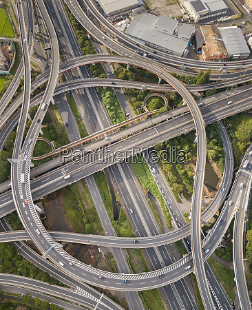 aerial view of interchange in toyko