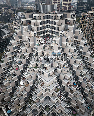 aerial view of residential tower block