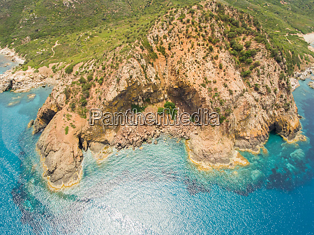 aerial view of sardinia rocky coast