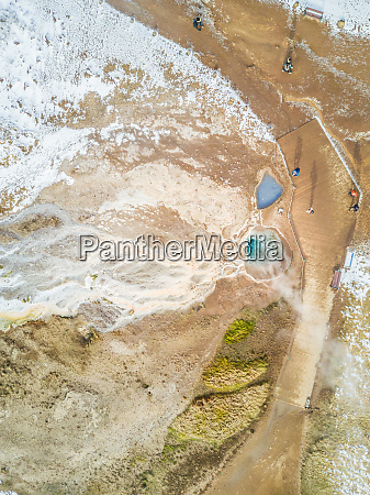 aerial view of visitors in geysir