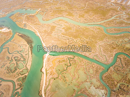 aerial view of wetlands in andalusia