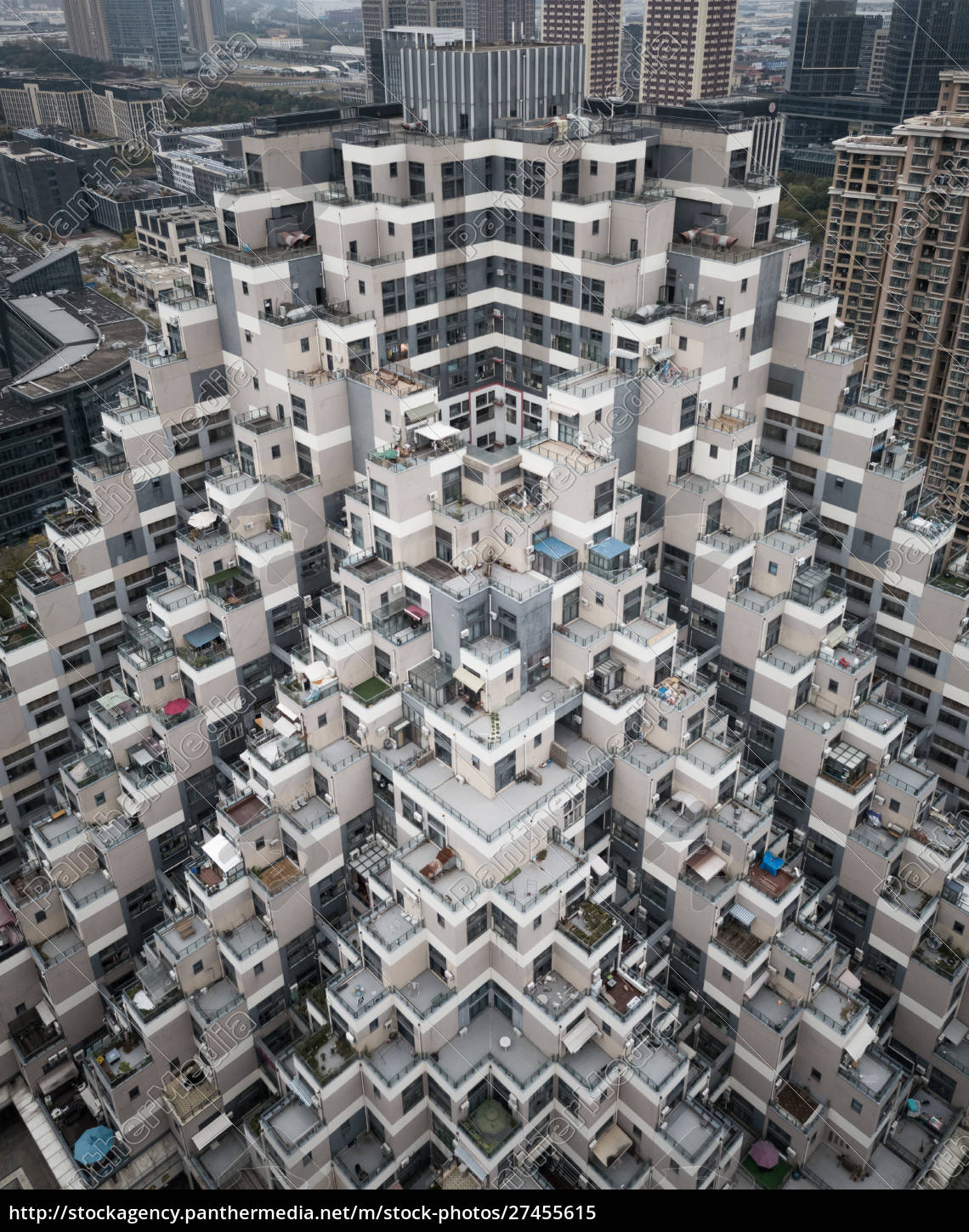 aerial, view, of, residential, tower, block - 27455615