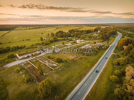 aerial view of an abandoned farm
