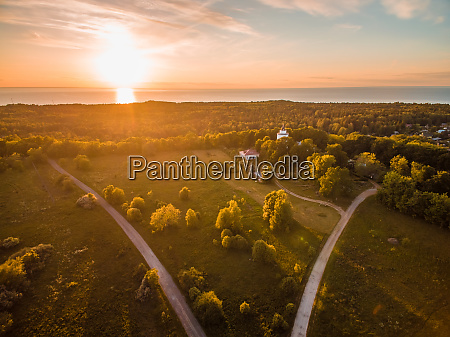 aerial view of sunset on forest