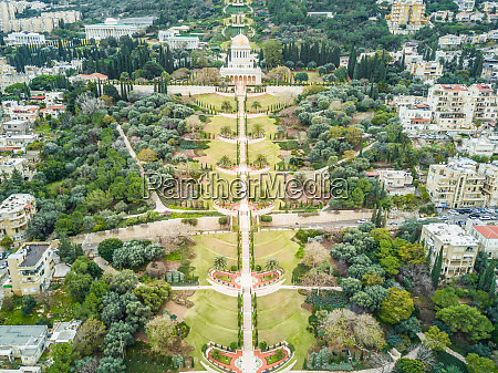 aerial view of bahai holy gardens