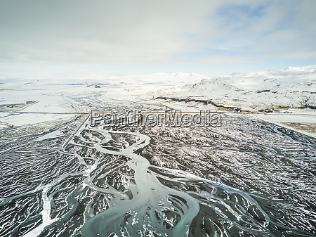 aerial view of meltwater running off