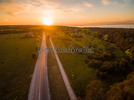 aerial view of empty roads in