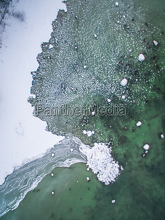 abstract aerial view of snowy coast