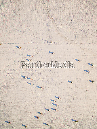 aerial view of straw bale in