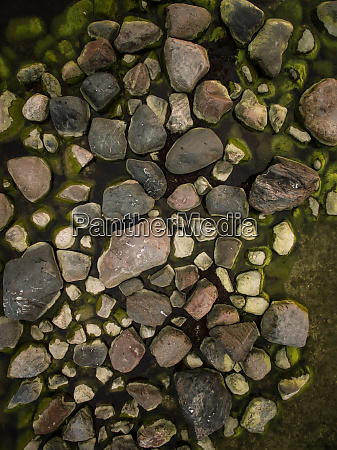aerial view of rocks emerging from