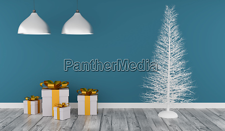 modern room with a white christmas