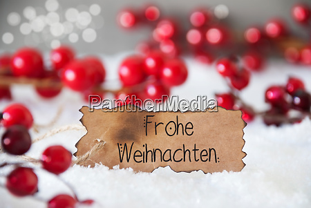 red christmas decoration snow label frohe