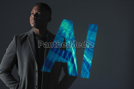 double exposure serious businessman and ai