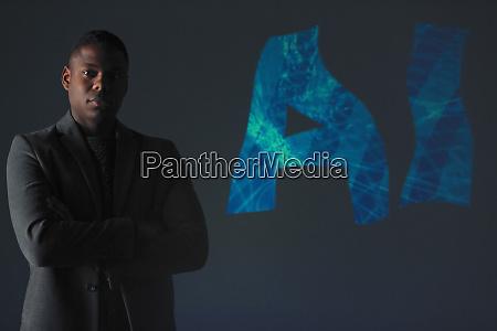 double exposure portrait confident businessman and
