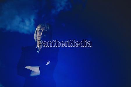 double exposure portrait confident businesswoman against