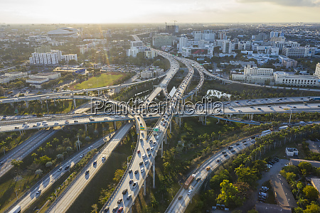 highway intersections aerial view miami florida