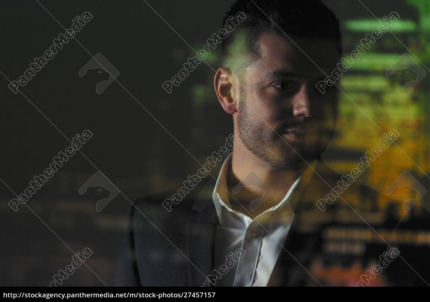 double, exposure, businessman, and, highrise, buildings - 27457157