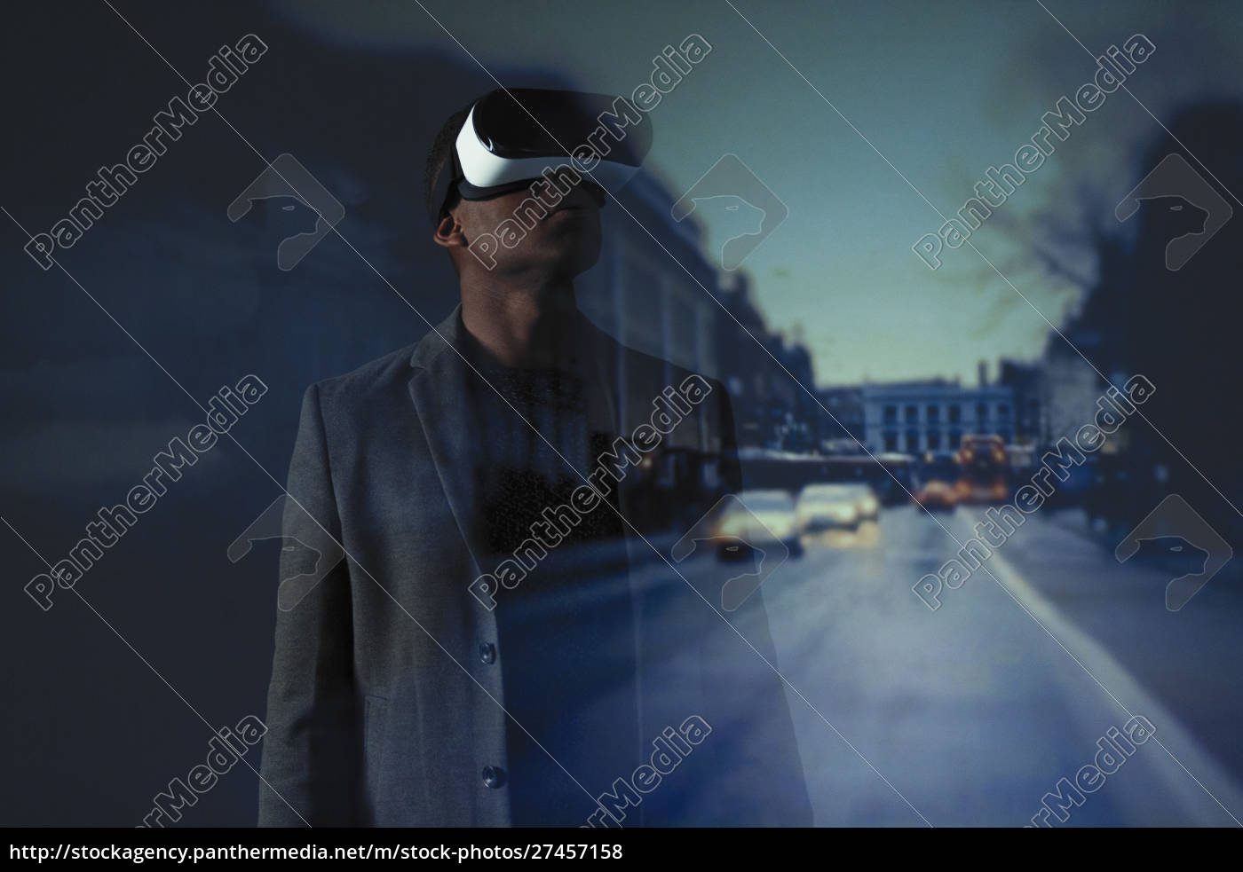 double, exposure, businessman, with, virtual, reality - 27457158