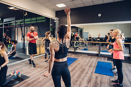 group of women training in gym