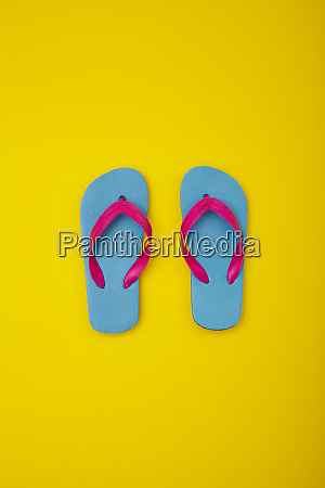 pair of colourful flip flops on