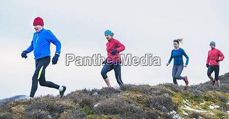 friends jogging on trail