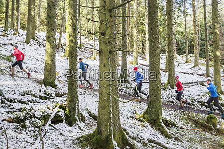 friends, jogging, in, snowy, woods - 27460664