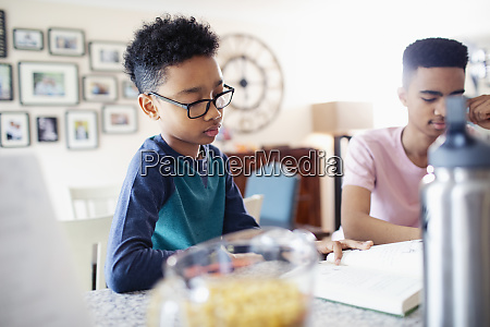boy studying reading book