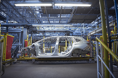 car body on production line in