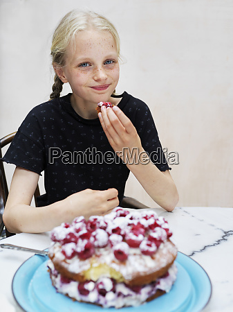 girl, eating, her, homemade, cake, with - 27462612