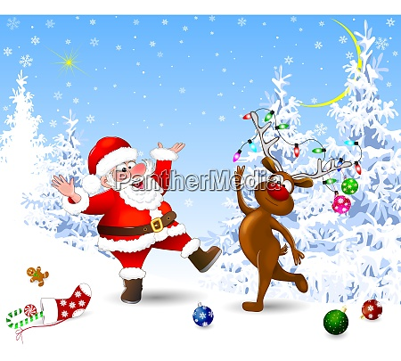 joyful santa and deer celebrate christmas