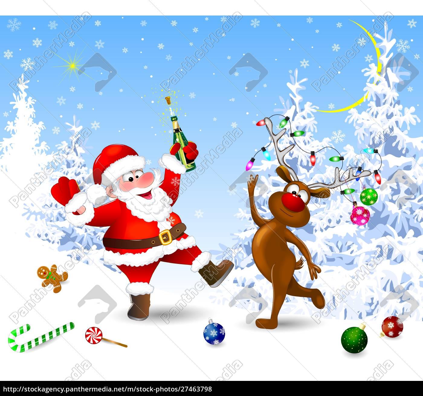 joyful, santa, and, deer, celebrate, christmas - 27463798