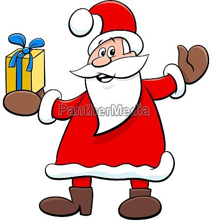 santa claus cartoon character with christmas