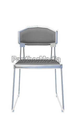 modern simple grey metallic chair isolated