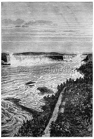 niagara falls vintage engraving