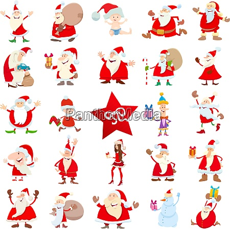 santa claus christmas characters cartoon set