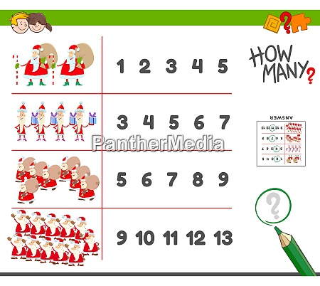 counting task with santa claus characters
