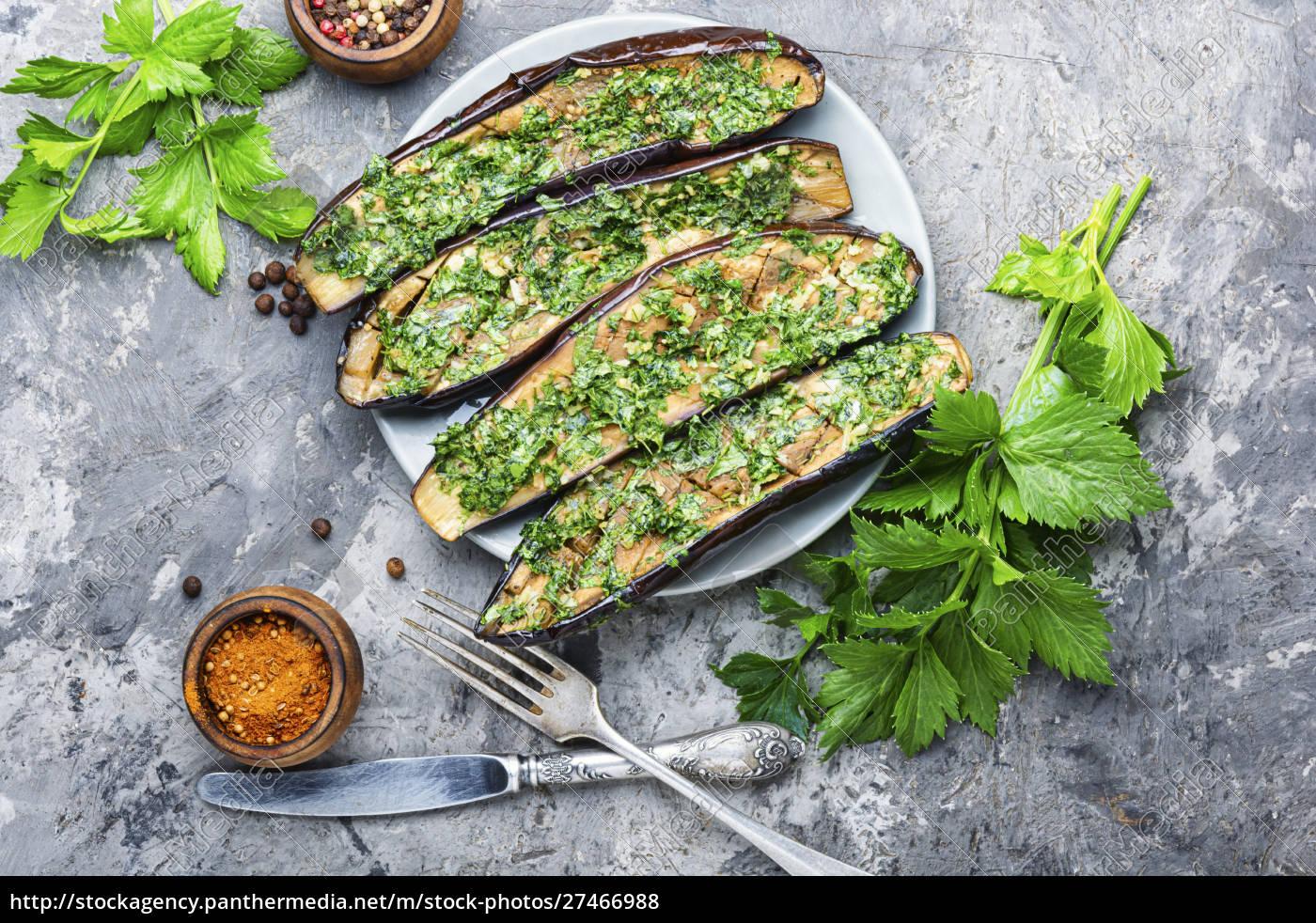 halved, baked, eggplant - 27466988