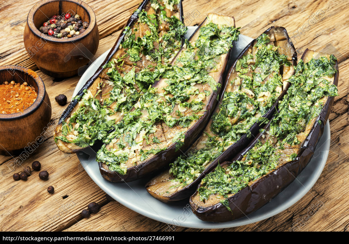 halved, baked, eggplant - 27466991