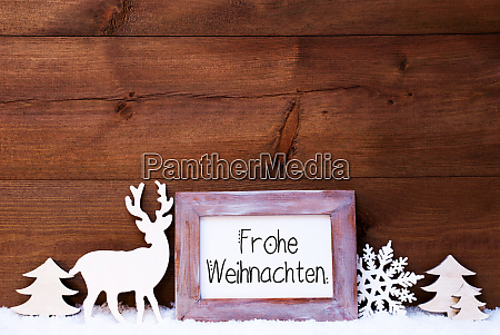 vintage frame deer tree snow frohe