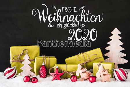 snow gift tree ball glueckliches 2020
