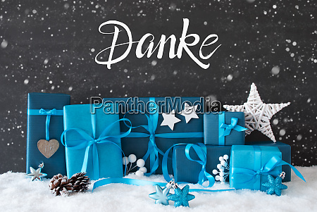 turquois gift snowflakes danke means thank