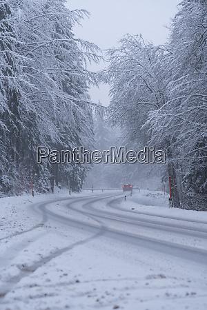 slippery snowy roads winter