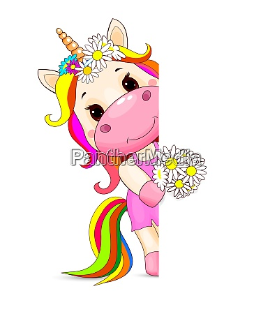 unicorn baby with flowers