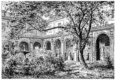 mulberry court vintage engraving