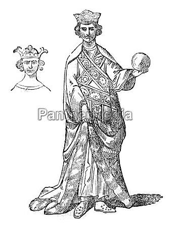 royal robe ceremonial dress vintage engraving