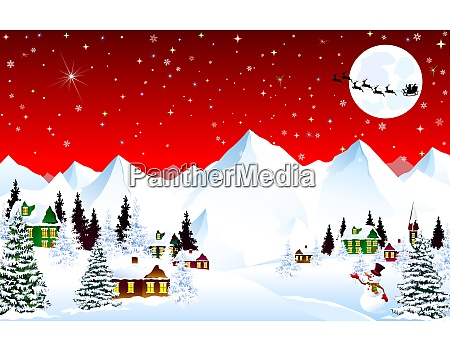 mountain village winter night christmas